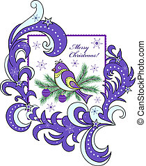 christmas card with abstract bird