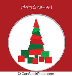 Christmas card with abstract Christmas tree and presents