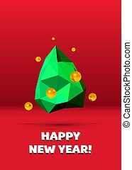 Christmas card with abstract green low poly Christmas tree and golden baubles on red background.