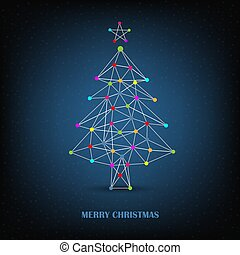 Christmas card with abstract network tree on blue background