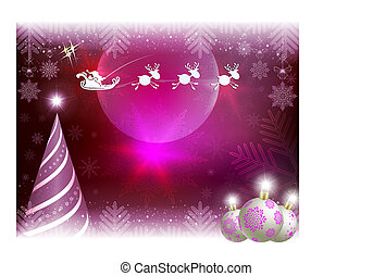 Christmas card with abstract tree, balls and Santa Claus riding in harness on reindeer.