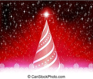 Christmas card with abstract tree, rays of light and white snowflakes.