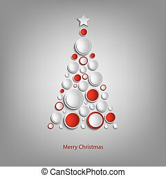 Christmas card with abstract tree white and red balls template