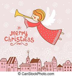 Christmas card with an angel.
