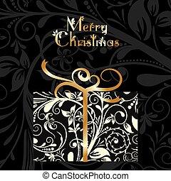 Christmas card with an ornament, vector