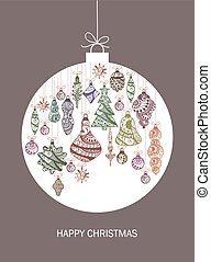 Christmas card with ball and christmas decorations. Vector illustration.