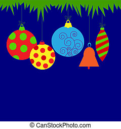 Christmas card with balls and bell