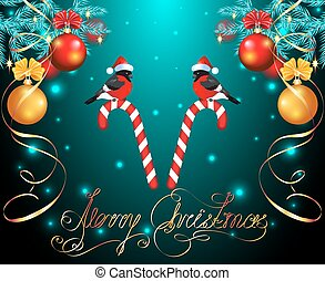 Christmas card with balls on spruce, bullfinches on candy cane