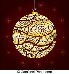 Christmas card with bauble made from greetings in different languages, vector illustration