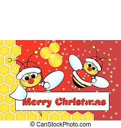 Christmas card with bees Santa Claus and beehive