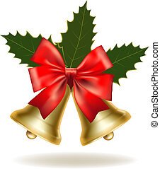 Christmas card with bells and bow. Vector illustration.
