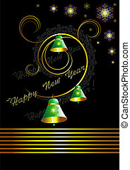 Christmas card with bells on black