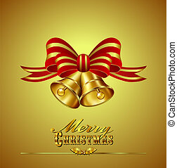 Christmas Card with Bells on Gold b - Ornate Merry Christmas...