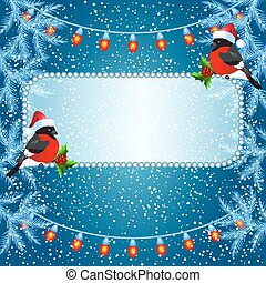 Christmas card with billboard and bullfinches