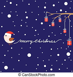 Christmas card with bird and presents