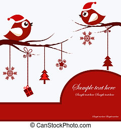 Christmas Card with Birds
