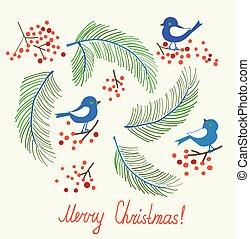 Christmas card with birds - retro design