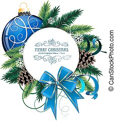 Christmas card with blue bauble