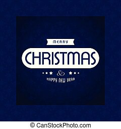 Christmas card with blue pattern background and typographic