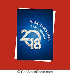 Christmas card with blue pattern background