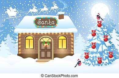 Christmas card with brick house and Santa's workshop against winter forest background and Santa Claus in sleigh with reindeer team