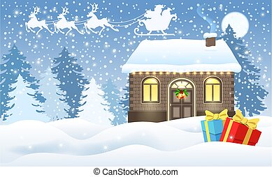 Christmas card with brick house and Santa's workshop, gift boxes and Santa Claus in sleigh with reindeer team