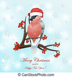 Christmas card with bullfinch and berry over snowflakes...