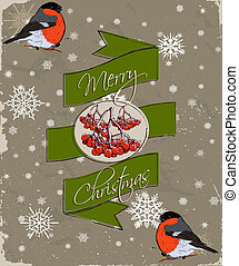 Christmas card with bullfinch.