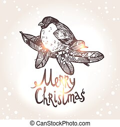 Christmas Card With Bullfinche