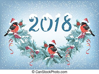 "Christmas card with bullfinches on the snowfall background in retro style with inscription ""2018"" and christmas garland"