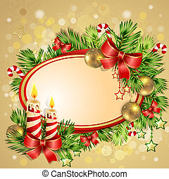 Christmas card with burning candles