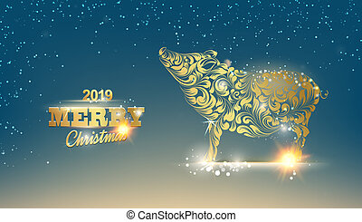 Christmas card with calligraphic text over dark blue background.