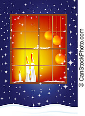 Christmas Card with candles - Classic Christmas card with...