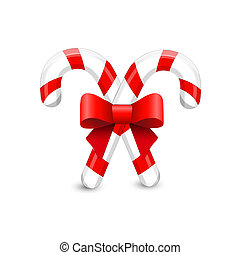 Christmas card with candy cane and red bow. Christmas Holiday. V