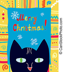 Christmas card with cat and frame funny design