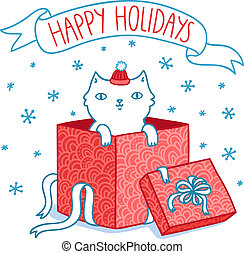 Christmas card with cat in a gift box