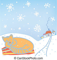 Christmas card with cat, snow, houses