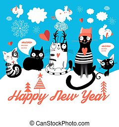 Christmas card with cheerful cats