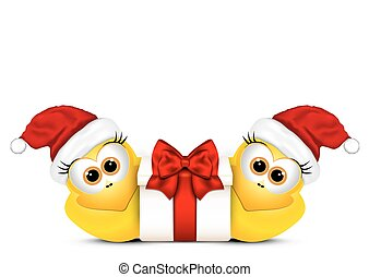 Christmas card with chickens in Santa hat.