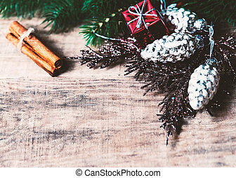 Christmas Card with Christmas gifts, fir tree branches, xmas holiday decorations, festive symbols