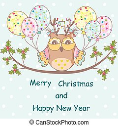 Christmas card with Christmas owl