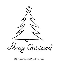 Christmas card with Christmas tree. Hand drawn in Scandinavian style. Simple liner