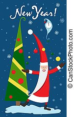 Christmas card with Christmas tree. Watch New Year. Vector illustration