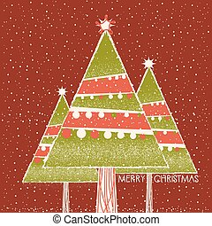 Christmas card with christmas trees decoration on red background