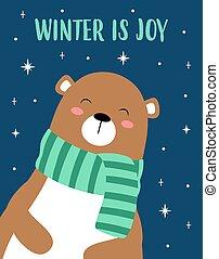 christmas card with cute bear, vector illustration