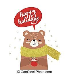 Christmas Card with Cute Bear