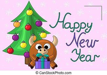 Christmas card with cute cartoon bull and gift