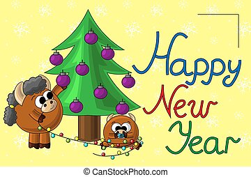 Christmas card with cute cartoon bull baby and garland