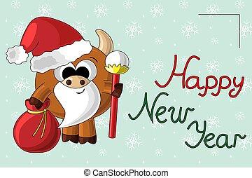 Christmas card with cute cartoon bull Santa