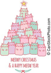 Christmas card with cute cat tree, vector